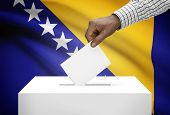 Ballot Box With National Flag On Background - Bosnia And Herzegovina