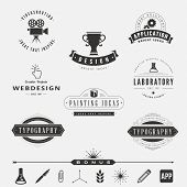 foto of shoot out  - Retro Vintage Labels Logo design vector template set - JPG