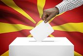 Ballot Box With National Flag On Background - Republic Of Macedonia
