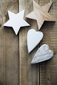 star and heart shaped vintage decoration. Christmas greeting card.