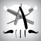 Bathroom accessoires. Razor blade, toothbrush and Hair Brush