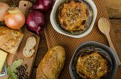 picture of french toast  - It is the French onion soup with baked toast with cheese on top rustic pastry - JPG