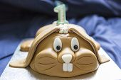 foto of rabbit year  - cute rabbit brown birthday cake for first year celebration.
