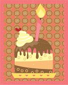 Piece of cake with a pink burning candle, chocolate topping, retro, grunge style