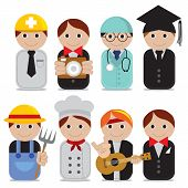 Vector Illustration - Set Of People Occupations Icons.