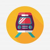 Transportation Train Flat Icon With Long Shadow,eps10