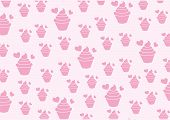 Vector Background Sweet Pink Cupcake