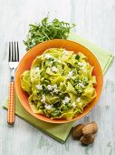tagliatelle with arugula almonds and ricotta