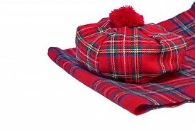 pic of headgear  - Traditional Scottish Red Tartan Bonnet and Scarf Men headgear and neckwear Isolated on white Background - JPG