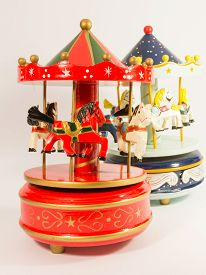 picture of merry-go-round  - sky blue and red merry - JPG