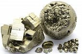 foto of pyrite  - Set of a beautiful Pyrite  samples isolated on white background - JPG