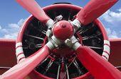 stock photo of rotor plane  - Airplane propeller engine on blue sky  - JPG