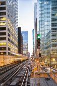 stock photo of illinois  - Famous Chicago train arrives , Illinois USA ** Note: Visible grain at 100%, best at smaller sizes - JPG
