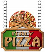 picture of food chain  - Wooden sign with frame and text Italy pizza slices of pizza on cutting board - JPG