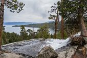 pic of emerald  - Emerald Bay in Lake Tahoe with stormy clouds in a Spring afternoon - JPG