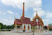 image of crematory  - Crematory with sky background at Wat Khun Thip - JPG