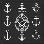picture of marines  - Antique and vintage marine anchors set isolated on black for marine and heraldry design - JPG