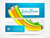 stock photo of time study  - School time banner or website header set - JPG