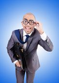 stock photo of nerds  - Funny nerd businessman on the white - JPG
