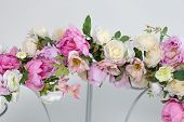 image of wedding arch  - Part of wedding arch with pink and white flowers - JPG