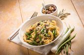 image of green-beans  - pasta with green beans and black olives - JPG