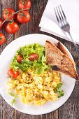 stock photo of scrambled eggs  - scrambled egg with salad and toast - JPG