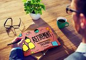 image of retirement age  - Retirement Insurance Pension Saving Plan Benefits Travel Concept - JPG