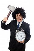 picture of sob  - Businessman holding hammer and alarm clock isolated on white - JPG