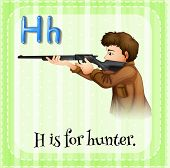 stock photo of hunters  - Flashcard letter H is for hunter with green background - JPG