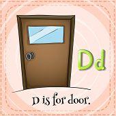 foto of letter d  - Flashcard letter D is for door - JPG