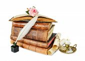 picture of inkpot  - Old books burning candle in candlestick white feather in inkpot rose flower and scroll with stamp isolated on white background - JPG