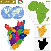 stock photo of burundi  - Administrative division of the Republic of Burundi - JPG