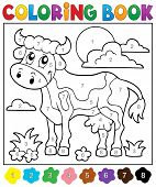 stock photo of herbivore animal  - Coloring book cow theme 2  - JPG