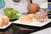 picture of hamburger-steak  - Ingredients for Hamburger before cooking / Cooking Hamburger concept
