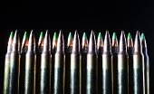 stock photo of bullet  - Ammunition for rifles that has bullets with a steel tip - JPG