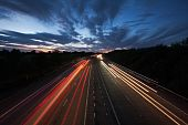 Light Trails On A Motorway At Dusk