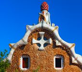 stock photo of gaudi barcelona  - Park Guell by architect Gaudi in a summer day in Barcelona - JPG