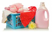 foto of detergent  - Detergent and towels in basket isolated on white background - JPG