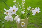 stock photo of windflowers  - Bouquet with various white wildflowers  on the background of greenery - JPG