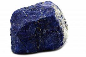 image of lapis lazuli  - Sample of a beautiful Lapis Lazuli specimen isolated on white background - JPG