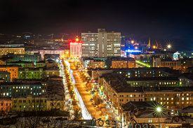stock photo of murmansk  - Evening Murmansk.Murmansk - the world
