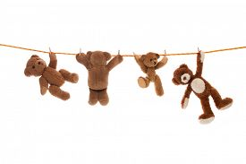 picture of pegging  - Hanging group of teddy bears on a clothing line with pegs - JPG