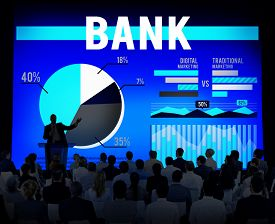 stock photo of budge  - Bank Banking Budge Stock Market Finance Business Concept - JPG