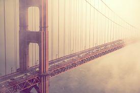 image of gate  - Golden Gate Bridge Traffic in San Francisco California - JPG