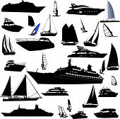 collection of sea tranportation vector (cruise, motor-yatch, sailing boat)