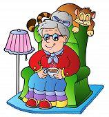 Dibujos animados abuela sentada en el sillón