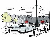 Trafalgar Square London illustration
