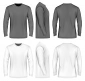 Mens long sleeve t-shirt (front, side and back views). Vector illustration. Fully editable handmade poster