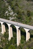picture of skyway bridge  - Bridge in the mountains near Eze Village a little ancient village in France in Alpes Maritimes - JPG