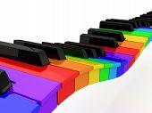 Rainbow Piano Over White Background
